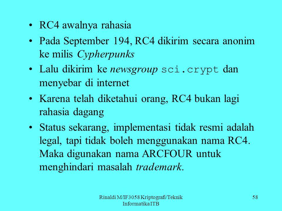 Rinaldi M/IF3058 Kriptografi/Teknik Informatika ITB 58 RC4 awalnya rahasia Pada September 194, RC4 dikirim secara anonim ke milis Cypherpunks Lalu dik