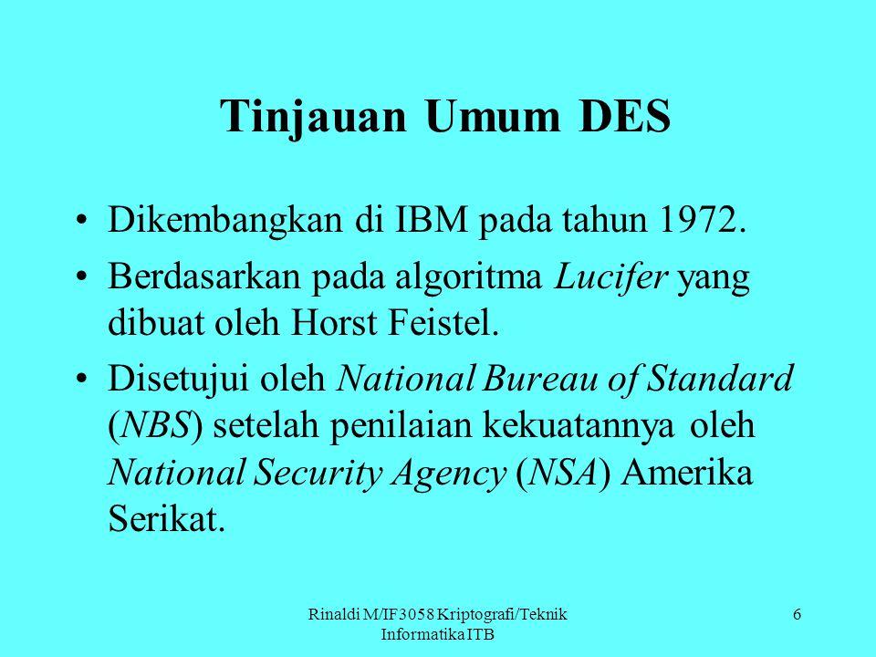 Tinjauan Umum DES Dikembangkan di IBM pada tahun 1972. Berdasarkan pada algoritma Lucifer yang dibuat oleh Horst Feistel. Disetujui oleh National Bure