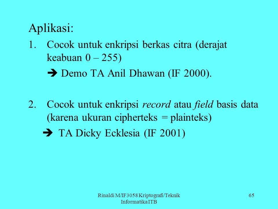 Rinaldi M/IF3058 Kriptografi/Teknik Informatika ITB 65 Aplikasi: 1.Cocok untuk enkripsi berkas citra (derajat keabuan 0 – 255)  Demo TA Anil Dhawan (