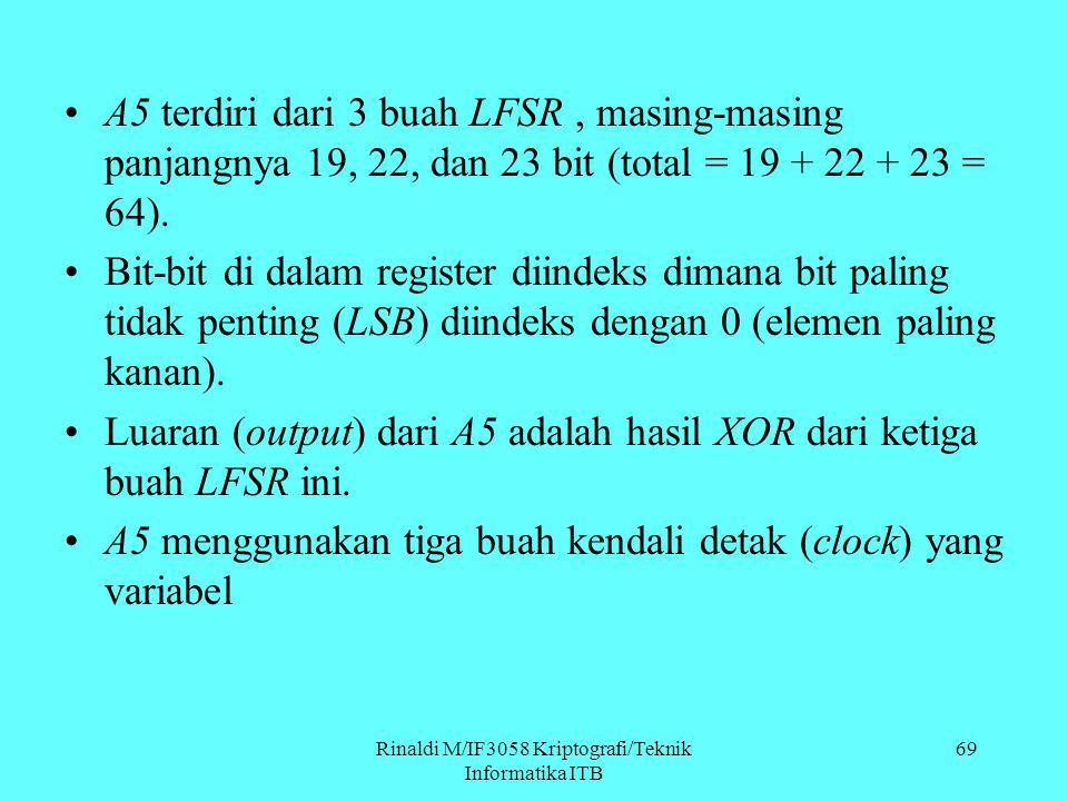Rinaldi M/IF3058 Kriptografi/Teknik Informatika ITB 69 A5 terdiri dari 3 buah LFSR, masing-masing panjangnya 19, 22, dan 23 bit (total = 19 + 22 + 23