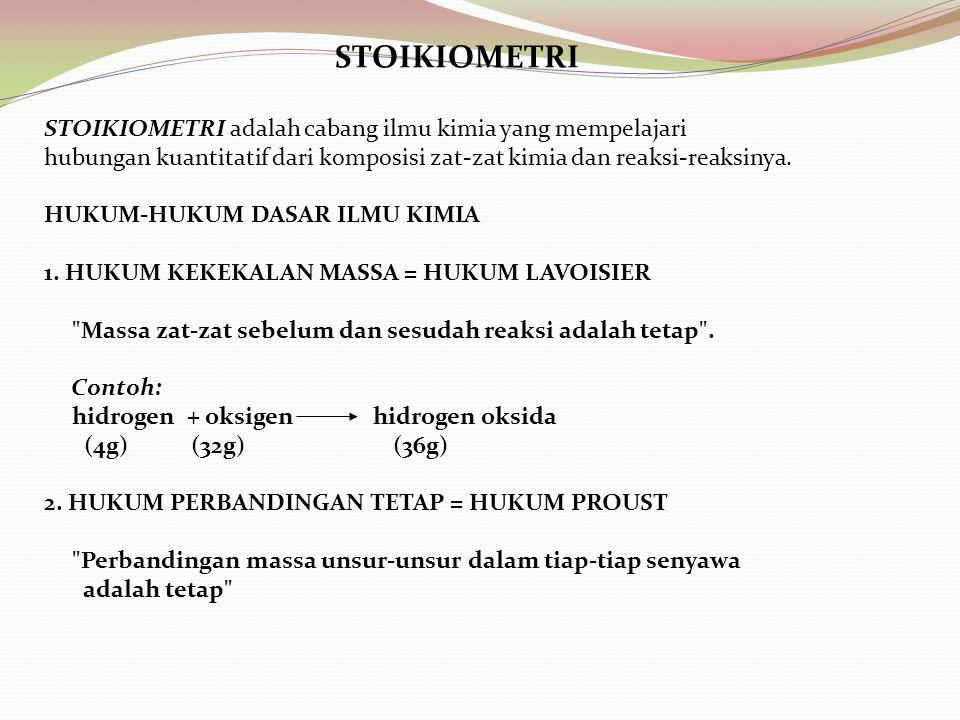 STOIKIOMETRI STOIKIOMETRI adalah cabang ilmu kimia yang mempelajari hubungan kuantitatif dari komposisi zat-zat kimia dan reaksi-reaksinya. HUKUM-HUKU