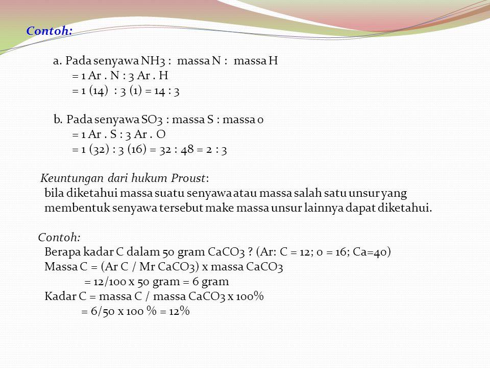 Contoh: a. Pada senyawa NH3 : massa N : massa H = 1 Ar. N : 3 Ar. H = 1 (14) : 3 (1) = 14 : 3 b. Pada senyawa SO3 : massa S : massa 0 = 1 Ar. S : 3 Ar
