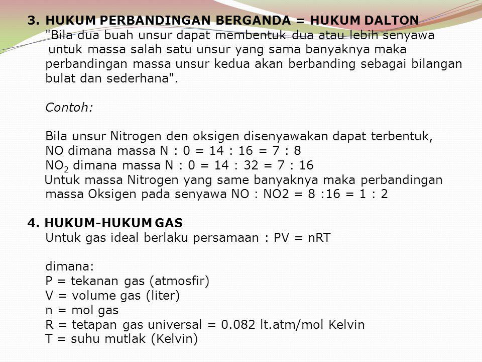 3.HUKUM PERBANDINGAN BERGANDA = HUKUM DALTON