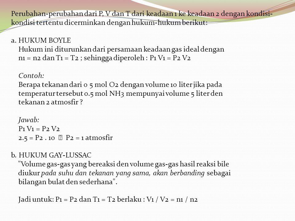 Perubahan-perubahan dari P, V dan T dari keadaan 1 ke keadaan 2 dengan kondisi- kondisi tertentu dicerminkan dengan hukum-hukum berikut: a. HUKUM BOYL