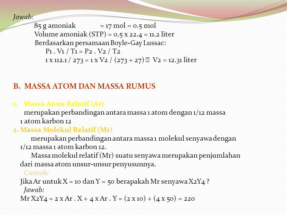 Jawab: 85 g amoniak = 17 mol = 0.5 mol Volume amoniak (STP) = 0.5 x 22.4 = 11.2 liter Berdasarkan persamaan Boyle-Gay Lussac: P1. V1 / T1 = P2. V2 / T