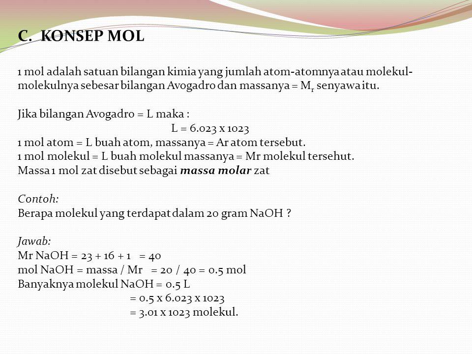 C. KONSEP MOL 1 mol adalah satuan bilangan kimia yang jumlah atom-atomnya atau molekul- molekulnya sebesar bilangan Avogadro dan massanya = M r senyaw