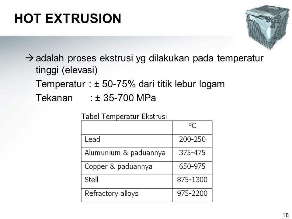 18 HOT EXTRUSION  adalah proses ekstrusi yg dilakukan pada temperatur tinggi (elevasi) Temperatur : ± 50-75% dari titik lebur logam Tekanan : ± 35-700 MPa