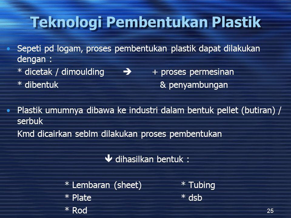25 Teknologi Pembentukan Plastik Sepeti pd logam, proses pembentukan plastik dapat dilakukan dengan : * dicetak / dimoulding  + proses permesinan * d
