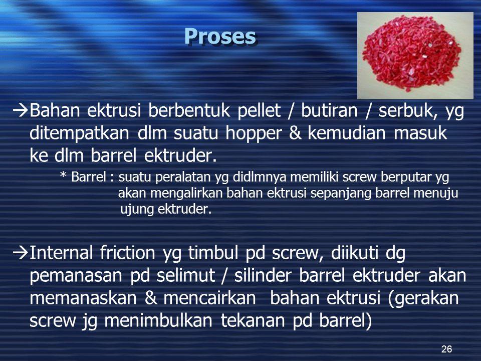 26 Proses  Bahan ektrusi berbentuk pellet / butiran / serbuk, yg ditempatkan dlm suatu hopper & kemudian masuk ke dlm barrel ektruder. * Barrel : sua