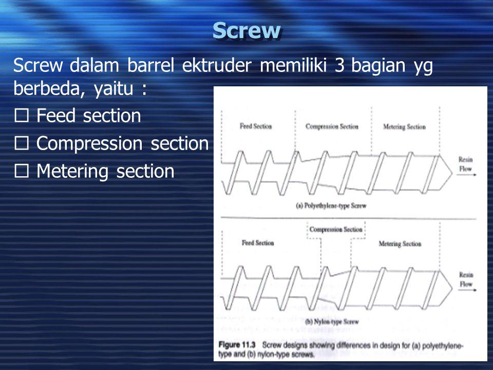 32 Screw Screw dalam barrel ektruder memiliki 3 bagian yg berbeda, yaitu :  Feed section  Compression section  Metering section