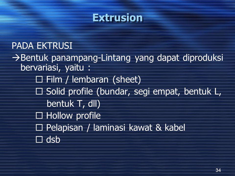 34 Extrusion PADA EKTRUSI  Bentuk panampang-Lintang yang dapat diproduksi bervariasi, yaitu :  Film / lembaran (sheet)  Solid profile (bundar, segi empat, bentuk L, bentuk T, dll)  Hollow profile  Pelapisan / laminasi kawat & kabel  dsb