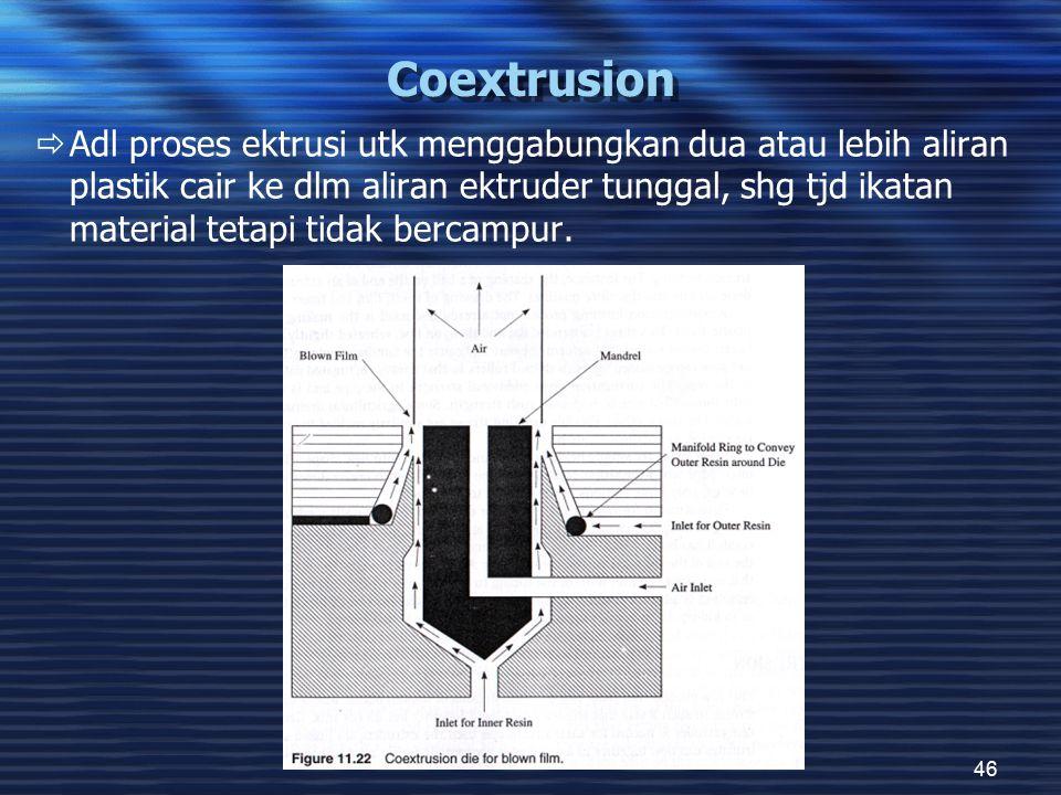 46 Coextrusion  Adl proses ektrusi utk menggabungkan dua atau lebih aliran plastik cair ke dlm aliran ektruder tunggal, shg tjd ikatan material tetapi tidak bercampur.