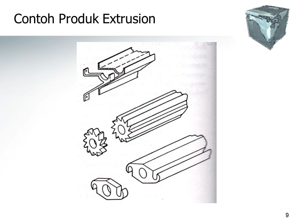 10 Keuntungan Proses Ekstrusi  Produk dg berbagai bentuk penampang dapat dibuat & berkekuatan tinggi  Toleransi produk baik  Finishing permukaan yg baik pd kecepatan produksi yg tinggi  Harga die relatif murah