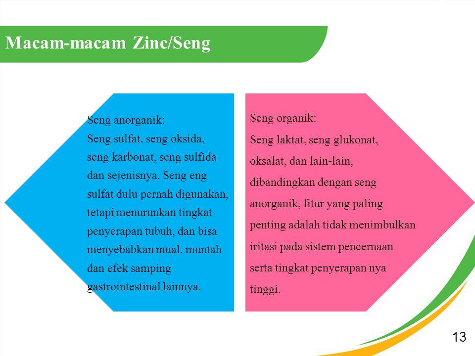 13 Macam-macam Zinc/Seng Seng organik: Seng laktat, seng glukonat, oksalat, dan lain-lain, dibandingkan dengan seng anorganik, fitur yang paling penting adalah tidak menimbulkan iritasi pada sistem pencernaan serta tingkat penyerapan nya tinggi.