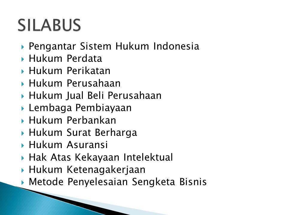  Pengantar Sistem Hukum Indonesia  Hukum Perdata  Hukum Perikatan  Hukum Perusahaan  Hukum Jual Beli Perusahaan  Lembaga Pembiayaan  Hukum Perbankan  Hukum Surat Berharga  Hukum Asuransi  Hak Atas Kekayaan Intelektual  Hukum Ketenagakerjaan  Metode Penyelesaian Sengketa Bisnis