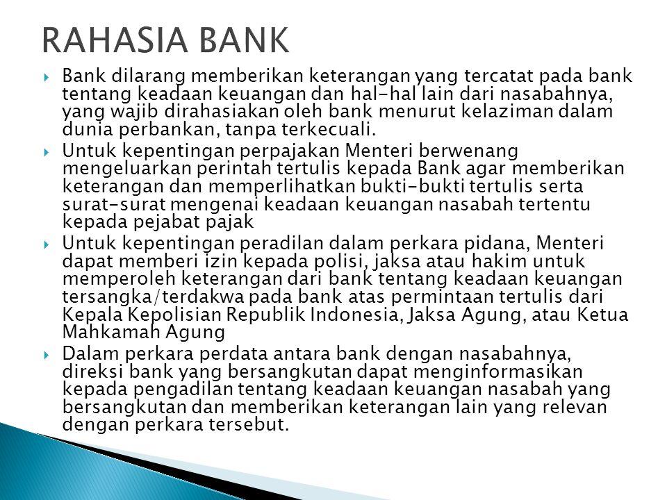  Bank dilarang memberikan keterangan yang tercatat pada bank tentang keadaan keuangan dan hal-hal lain dari nasabahnya, yang wajib dirahasiakan oleh