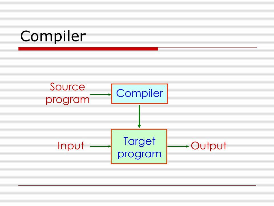 Compiler Source program OutputInput Compiler Target program