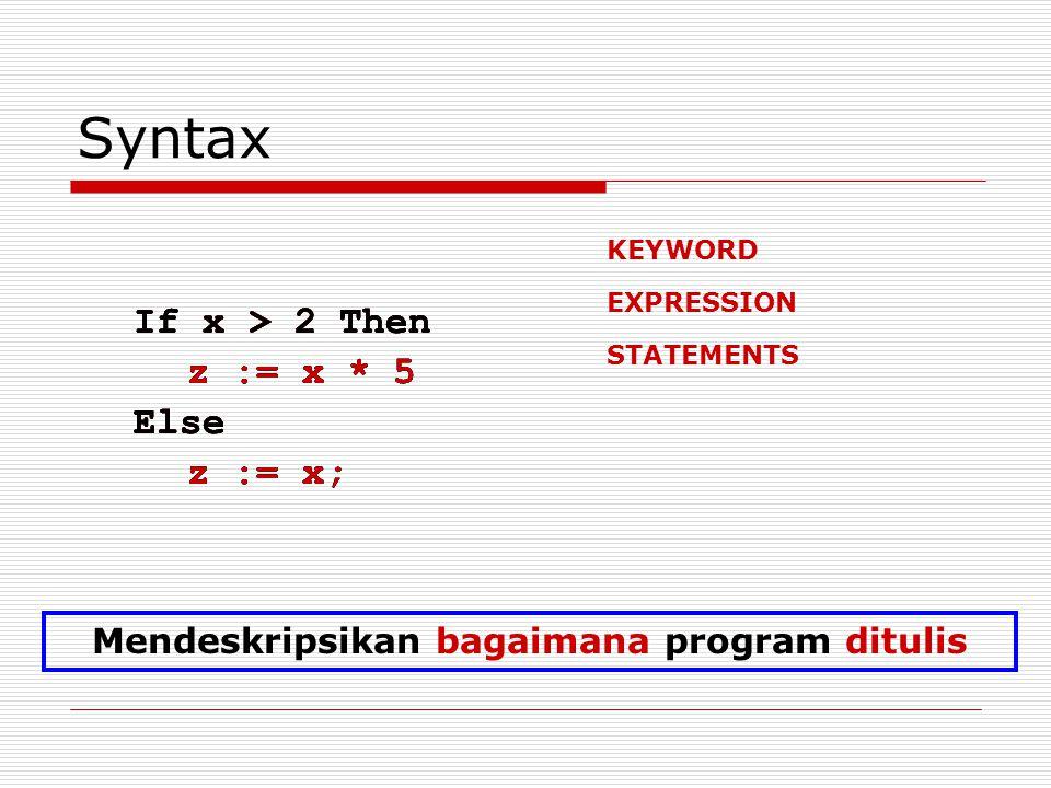 Syntax If x > 2 Then z := x * 5 Else z := x; If x > 2 Then z := x * 5 Else z := x; If x > 2 Then z := x * 5 Else z := x; KEYWORD EXPRESSION If x > 2 T