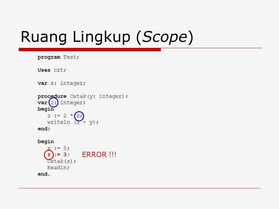 Ruang Lingkup (Scope) program Test; Uses crt; var x: integer; procedure Cetak(y: integer); var z: integer; begin z := 2 * x; writeln (z + y); end; begin x := 5; z := 3; Cetak(x); Readln; end.
