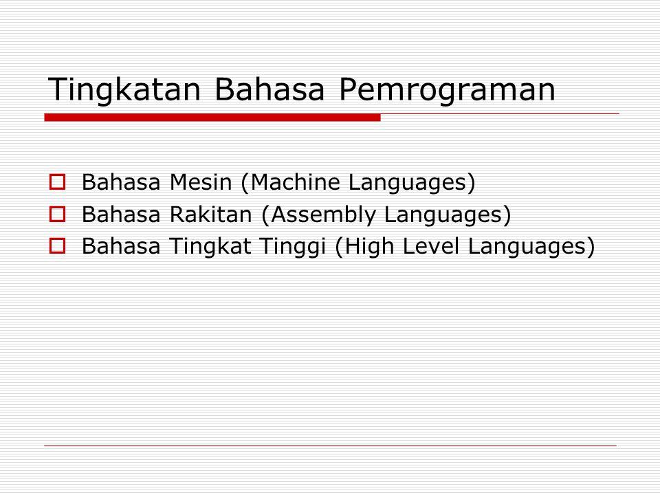 Tingkatan Bahasa Pemrograman  Bahasa Mesin (Machine Languages)  Bahasa Rakitan (Assembly Languages)  Bahasa Tingkat Tinggi (High Level Languages)