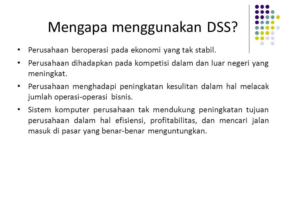 Mengapa menggunakan DSS? Perusahaan beroperasi pada ekonomi yang tak stabil. Perusahaan dihadapkan pada kompetisi dalam dan luar negeri yang meningkat