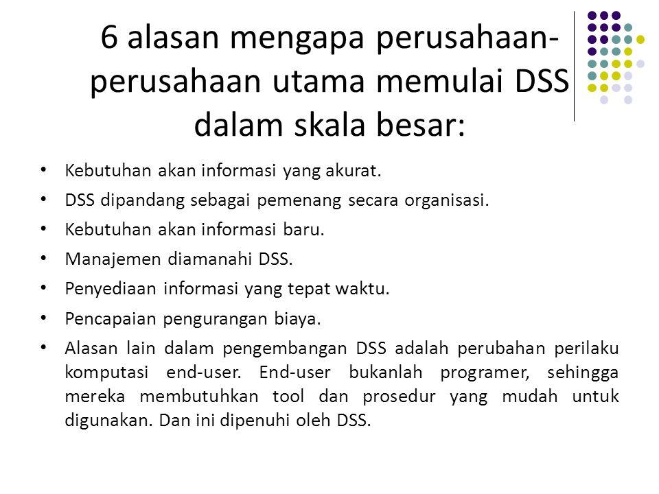6 alasan mengapa perusahaan- perusahaan utama memulai DSS dalam skala besar: Kebutuhan akan informasi yang akurat. DSS dipandang sebagai pemenang seca