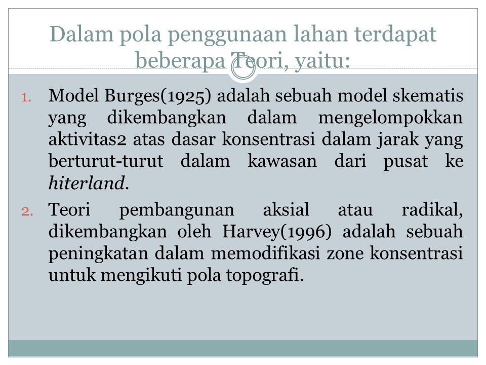 Dalam pola penggunaan lahan terdapat beberapa Teori, yaitu: 1. Model Burges(1925) adalah sebuah model skematis yang dikembangkan dalam mengelompokkan