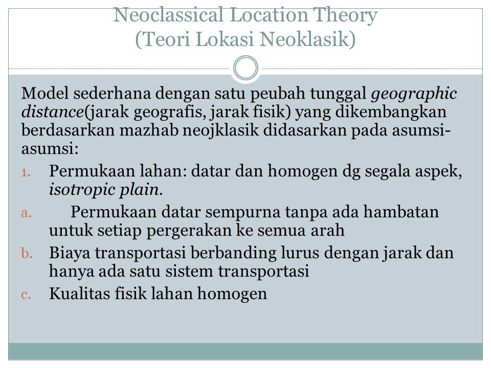 Neoclassical Location Theory (Teori Lokasi Neoklasik) Model sederhana dengan satu peubah tunggal geographic distance(jarak geografis, jarak fisik) yan