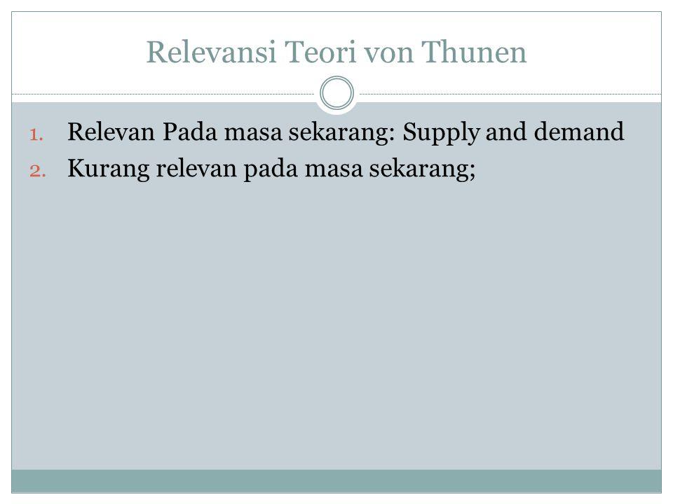 Relevansi Teori von Thunen 1. Relevan Pada masa sekarang: Supply and demand 2. Kurang relevan pada masa sekarang;