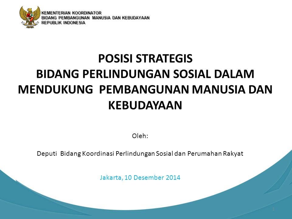 POSISI STRATEGIS BIDANG PERLINDUNGAN SOSIAL DALAM MENDUKUNG PEMBANGUNAN MANUSIA DAN KEBUDAYAAN Jakarta, 10 Desember 2014 KEMENTERIAN KOORDINATOR BIDAN