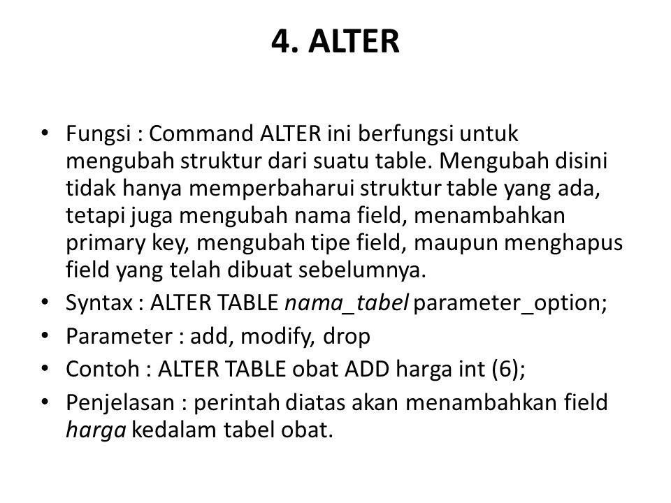 4.ALTER Fungsi : Command ALTER ini berfungsi untuk mengubah struktur dari suatu table.
