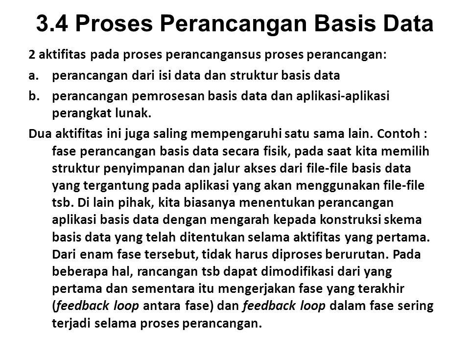3.4 Proses Perancangan Basis Data 2 aktifitas pada proses perancangansus proses perancangan: a.perancangan dari isi data dan struktur basis data b.perancangan pemrosesan basis data dan aplikasi-aplikasi perangkat lunak.