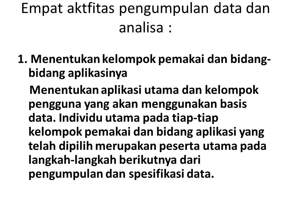 Empat aktfitas pengumpulan data dan analisa : 1.