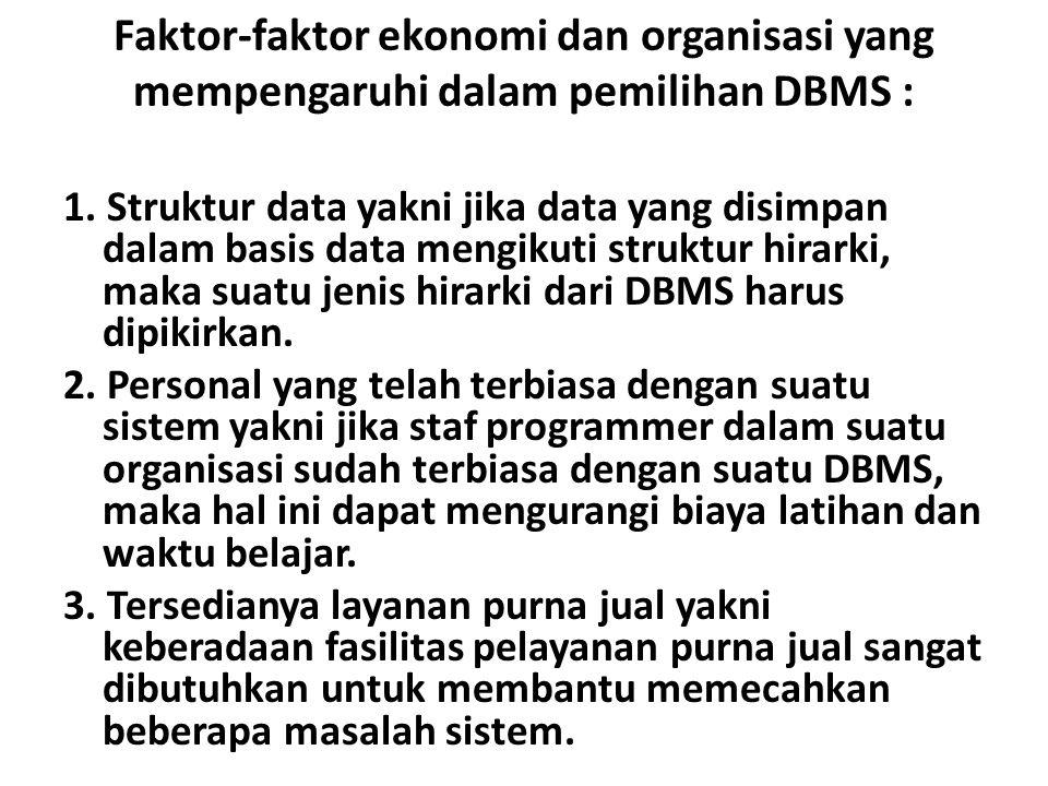 Faktor-faktor ekonomi dan organisasi yang mempengaruhi dalam pemilihan DBMS : 1.