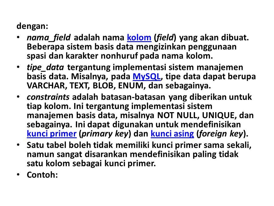 dengan: nama_field adalah nama kolom (field) yang akan dibuat.