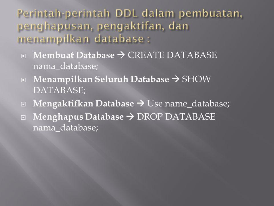  Membuat Database  CREATE DATABASE nama_database;  Menampilkan Seluruh Database  SHOW DATABASE;  Mengaktifkan Database  Use name_database;  Menghapus Database  DROP DATABASE nama_database;