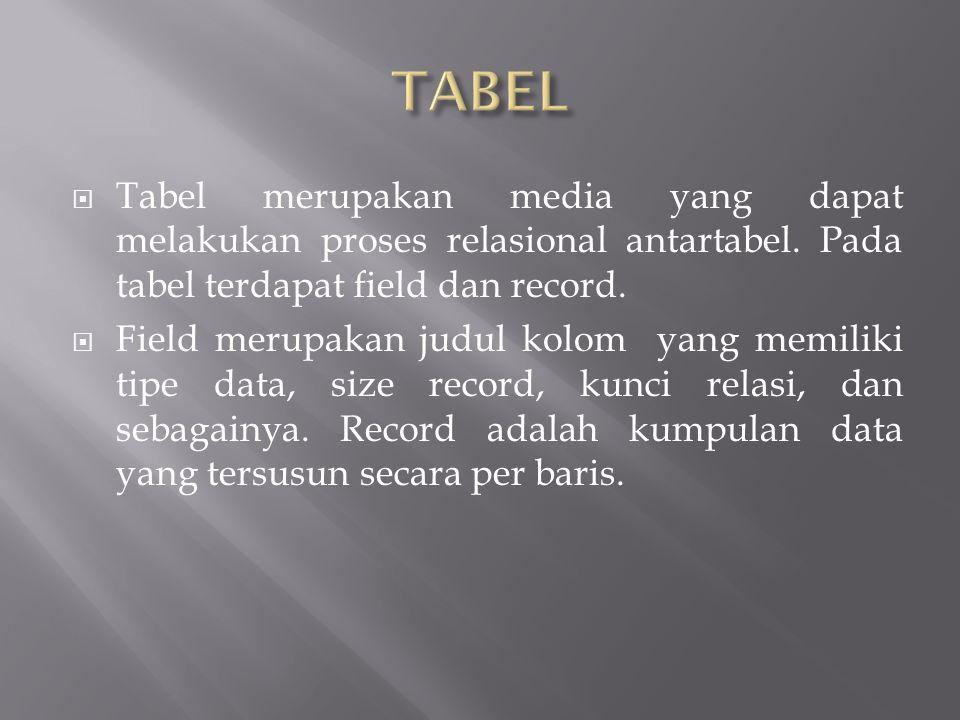  Tabel merupakan media yang dapat melakukan proses relasional antartabel.