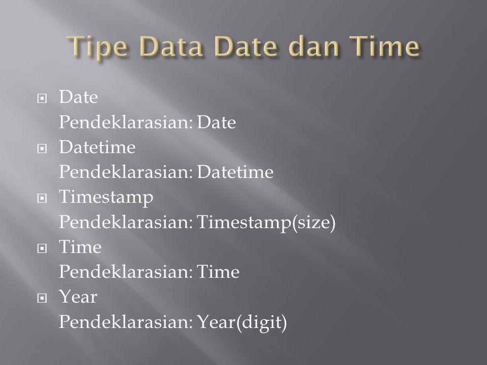  Date Pendeklarasian: Date  Datetime Pendeklarasian: Datetime  Timestamp Pendeklarasian: Timestamp(size)  Time Pendeklarasian: Time  Year Pendeklarasian: Year(digit)