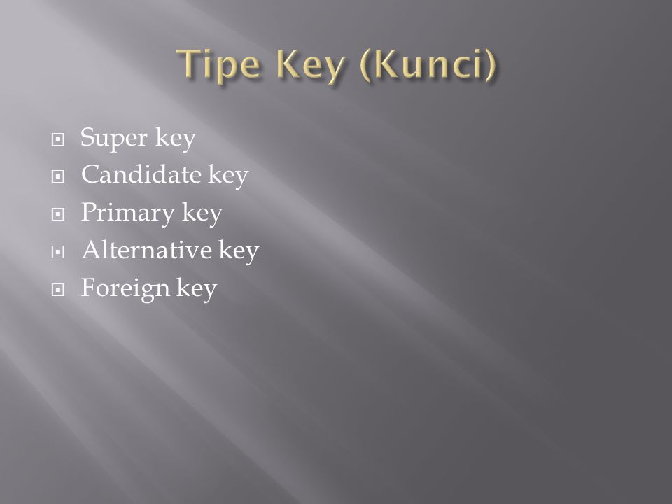  Super key  Candidate key  Primary key  Alternative key  Foreign key