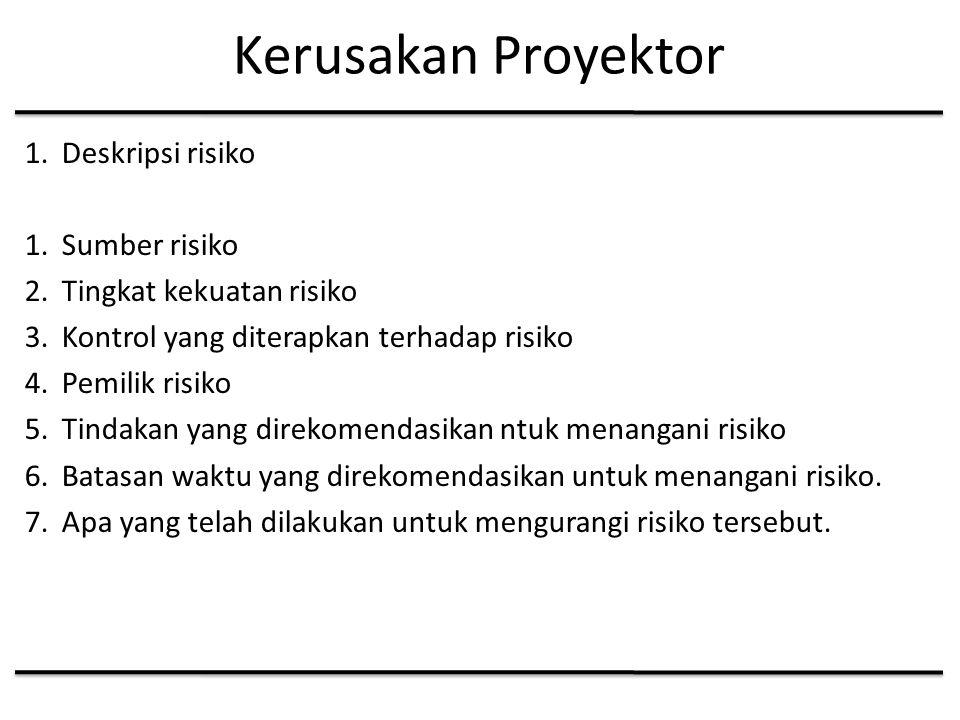 Kerusakan Proyektor 1.Deskripsi risiko 1.Sumber risiko 2.Tingkat kekuatan risiko 3.Kontrol yang diterapkan terhadap risiko 4.Pemilik risiko 5.Tindakan yang direkomendasikan ntuk menangani risiko 6.Batasan waktu yang direkomendasikan untuk menangani risiko.