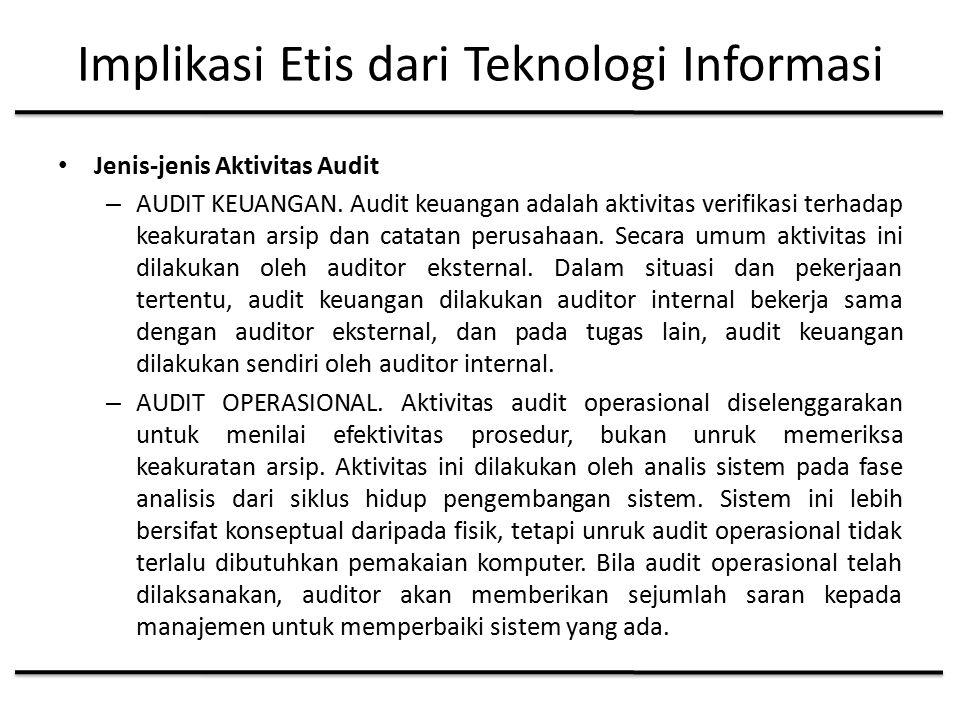 Implikasi Etis dari Teknologi Informasi Jenis-jenis Aktivitas Audit – AUDIT KEUANGAN.