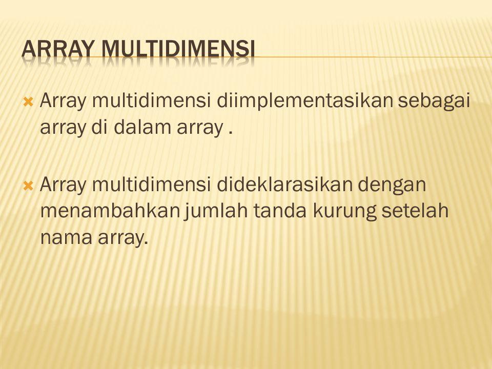  Array multidimensi diimplementasikan sebagai array di dalam array.  Array multidimensi dideklarasikan dengan menambahkan jumlah tanda kurung setela