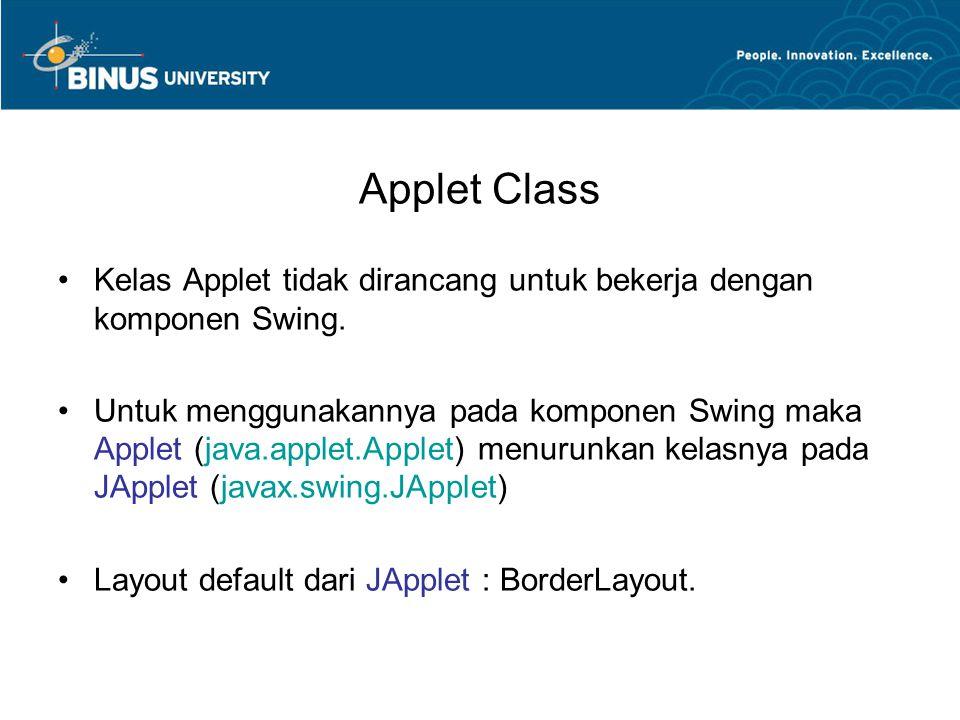 Applet Class Contoh penggunaan JApplet : –Kelas diatas tidak dapat dijalankan begitu saja karena tidak memiliki fungsi main.
