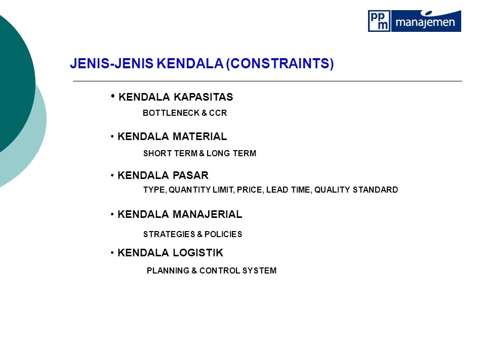 JENIS-JENIS KENDALA (CONSTRAINTS) KENDALA KAPASITAS KENDALA MATERIAL KENDALA PASAR KENDALA MANAJERIAL KENDALA LOGISTIK SHORT TERM & LONG TERM BOTTLENECK & CCR TYPE, QUANTITY LIMIT, PRICE, LEAD TIME, QUALITY STANDARD STRATEGIES & POLICIES PLANNING & CONTROL SYSTEM