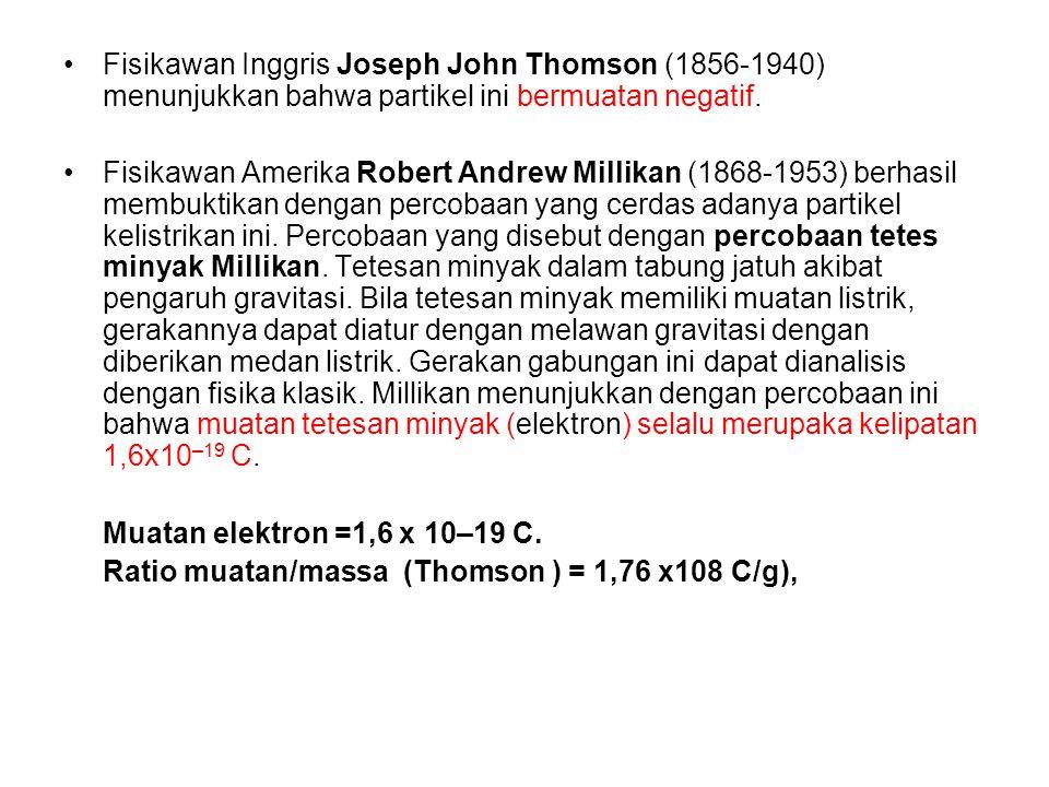 Fisikawan Inggris Joseph John Thomson (1856-1940) menunjukkan bahwa partikel ini bermuatan negatif. Fisikawan Amerika Robert Andrew Millikan (1868-195