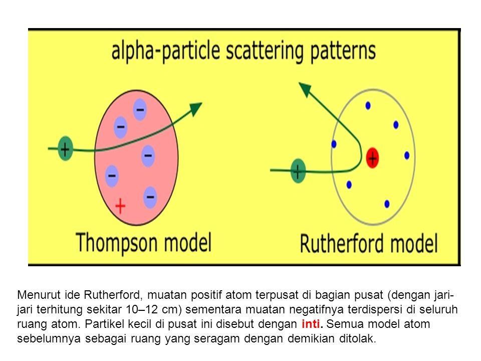 Menurut ide Rutherford, muatan positif atom terpusat di bagian pusat (dengan jari- jari terhitung sekitar 10–12 cm) sementara muatan negatifnya terdis