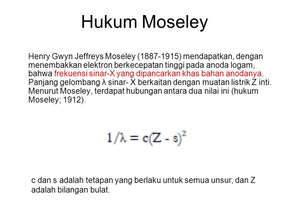 Hukum Moseley Henry Gwyn Jeffreys Moseley (1887-1915) mendapatkan, dengan menembakkan elektron berkecepatan tinggi pada anoda logam, bahwa frekuensi s
