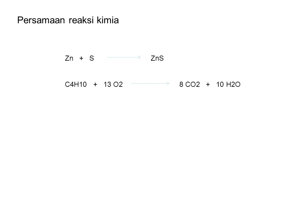 Persamaan reaksi kimia Zn + SZnS C4H10 + 13 O28 CO2 + 10 H2O