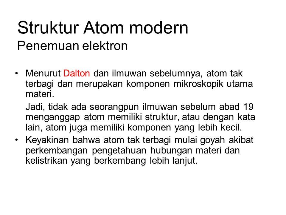 Struktur Atom modern Penemuan elektron Menurut Dalton dan ilmuwan sebelumnya, atom tak terbagi dan merupakan komponen mikroskopik utama materi. Jadi,