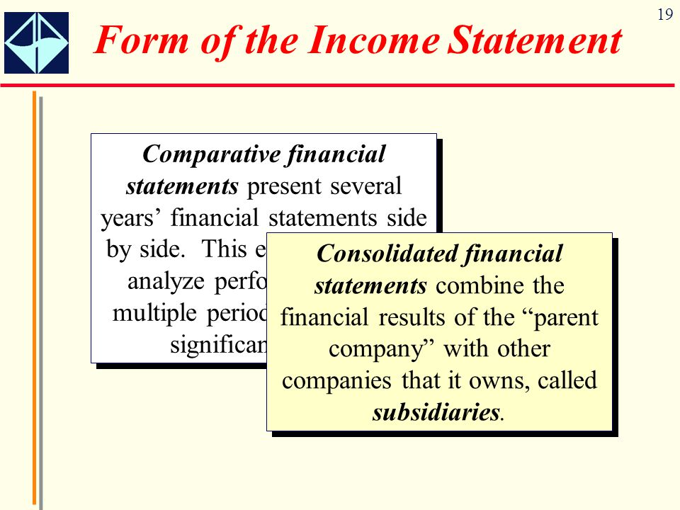 19 Form of the Income Statement Comparative financial statements present several years' financial statements side by side. This enables users to analy